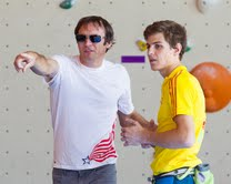 Team USA Head Coach Claudiu Vidulescu (left), here talking with Slovenian climber Domen Skofic (right,) was at The Boulders Gym Wednesday along with his 47-member U.S. team for training sessions in advance of the IFSC World Youth Climbing Championships (Photo: Christian J. Stewart / The Boulders Media)
