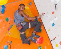 Team USA climber Kai Lightner sneaks a peek back at his coach for advice during a training session at The Boulders Climbing Gym on Wednesday (Photo: Christian J. Stewart / The Boulders Media)