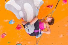 Team USA climber Margo Hayes contemplates her next move while hanging upside down on the stalactite, a mere 18-metres above the floor of The Boulders Climbing Gym, during her training session on Wednesday (Photo: Christian J. Stewart / The Boulders Media)