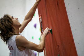 Boulder's climber Elan Jonas-McRae begins his ascent up the wall during one of his qualifying climbs at the 2013 British Lead Climbing National Championships last weekend in Sheffield, England (Photo Courtesy British Mountaineering Council).